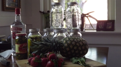 the ingredients: vodka, jalapenos, pickles, pineapple, strawberries, fresh mint leaves and mason jars