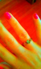 my birthstone (aquamarine) ring I've had since I was a teenager