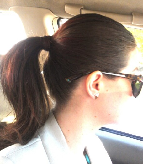 full pony tail with hair wrap