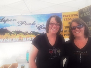 Margo and Julie from Aspen Peak, and their awesome sparkley shirts.